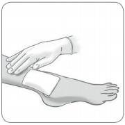 if needed, spray first Microdacyn® Hydrogel on the wound and apply bandage as usual